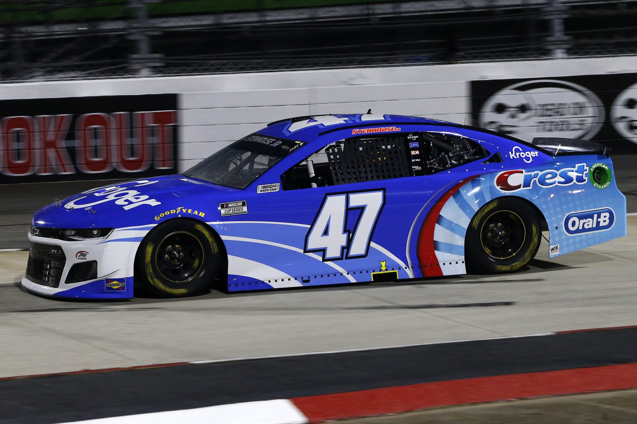 MARTINSVILLE, VIRGINIA - APRIL 10: Ricky Stenhouse Jr., driver of the #47 Kroger/Crest Chevrolet, drives during the NASCAR Cup Series Blue-Emu Maximum Pain Relief 500 at Martinsville Speedway on April 10, 2021 in Martinsville, Virginia. (Photo by Brian Lawdermilk/Getty Images) | Getty Images