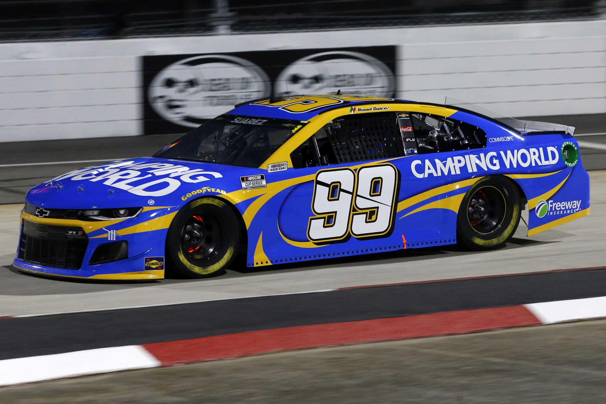 MARTINSVILLE, VIRGINIA - APRIL 10: Daniel Suarez, driver of the #99 Camping World Chevrolet, drives during the NASCAR Cup Series Blue-Emu Maximum Pain Relief 500 at Martinsville Speedway on April 10, 2021 in Martinsville, Virginia. (Photo by Brian Lawdermilk/Getty Images) | Getty Images