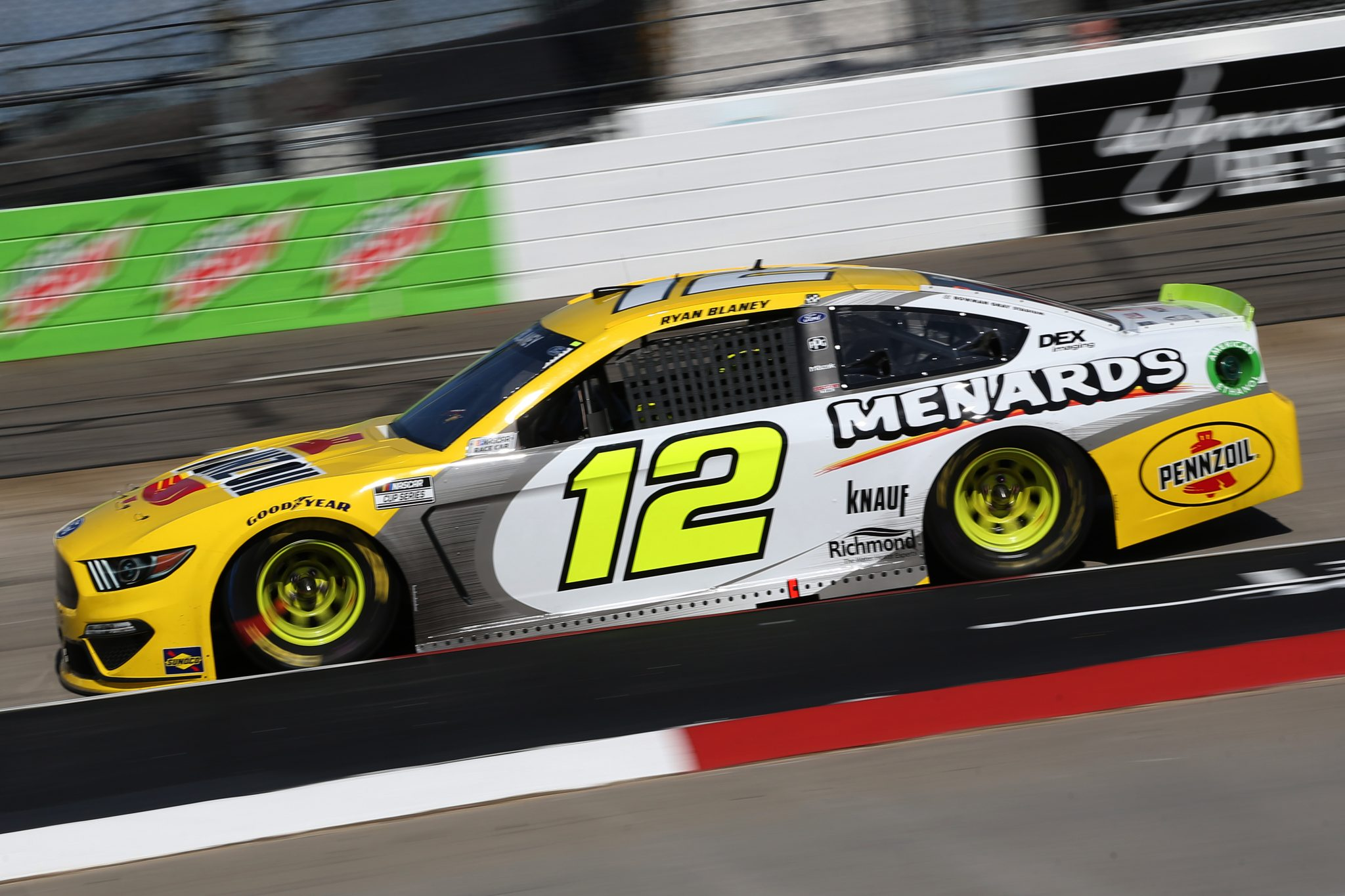 MARTINSVILLE, VIRGINIA - APRIL 11: Ryan Blaney, driver of the #12 Menards/Pennzoil Ford, drives during the NASCAR Cup Series Blue-Emu Maximum Pain Relief 500 at Martinsville Speedway on April 11, 2021 in Martinsville, Virginia. (Photo by Brian Lawdermilk/Getty Images) | Getty Images