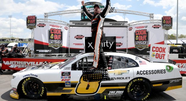 MARTINSVILLE, VIRGINIA - APRIL 11: Josh Berry, driver of the #8 Chevrolet Accessories Chevrolet, celebrates in victory lane after winning the NASCAR Xfinity Series Cook Out 250 at Martinsville Speedway on April 11, 2021 in Martinsville, Virginia. (Photo by Brian Lawdermilk/Getty Images) | Getty Images