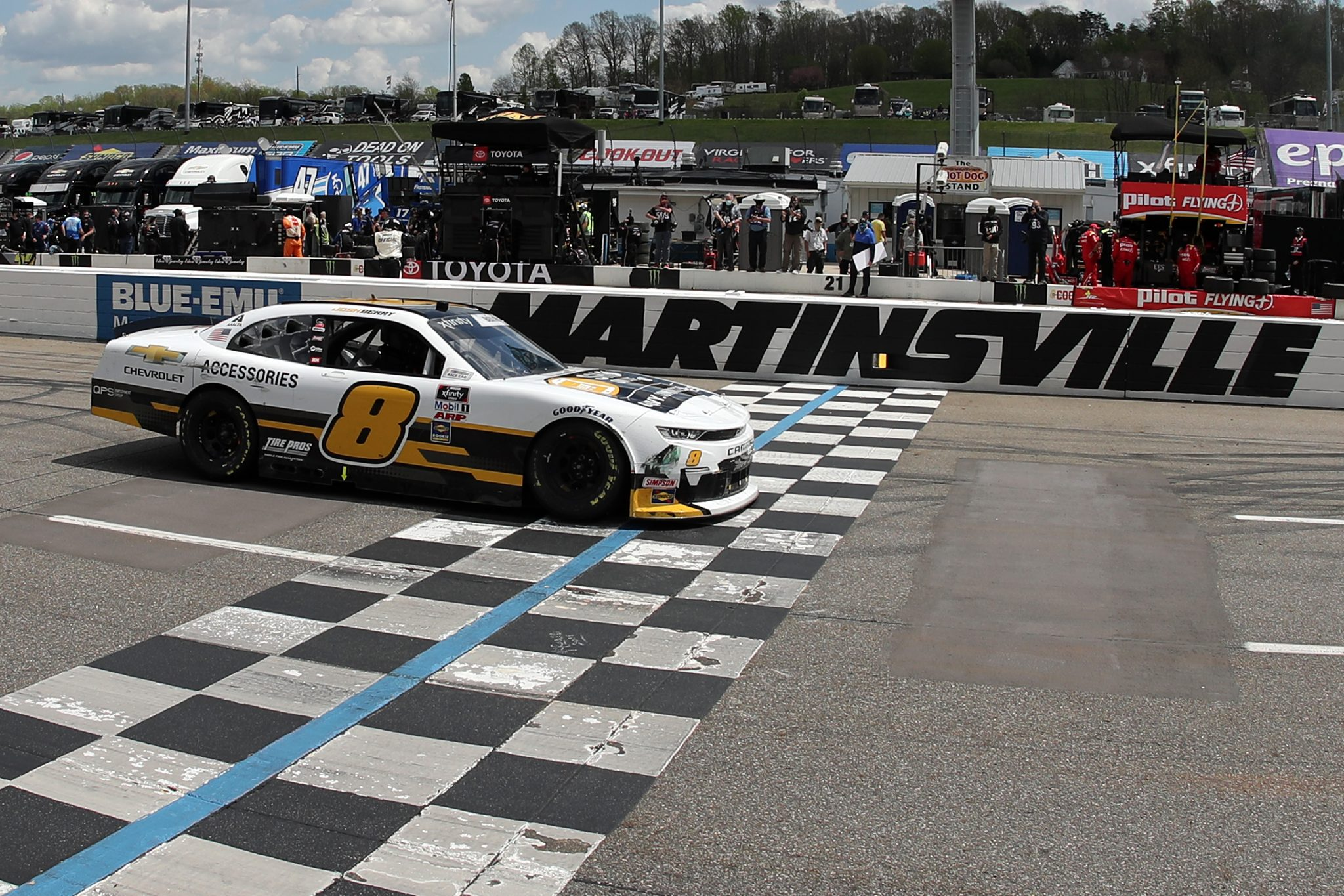 MARTINSVILLE, VIRGINIA - APRIL 11: Josh Berry, driver of the #8 Chevrolet Accessories Chevrolet, crosses the finish line to win the NASCAR Xfinity Series Cook Out 250 at Martinsville Speedway on April 11, 2021 in Martinsville, Virginia. (Photo by James Gilbert/Getty Images) | Getty Images