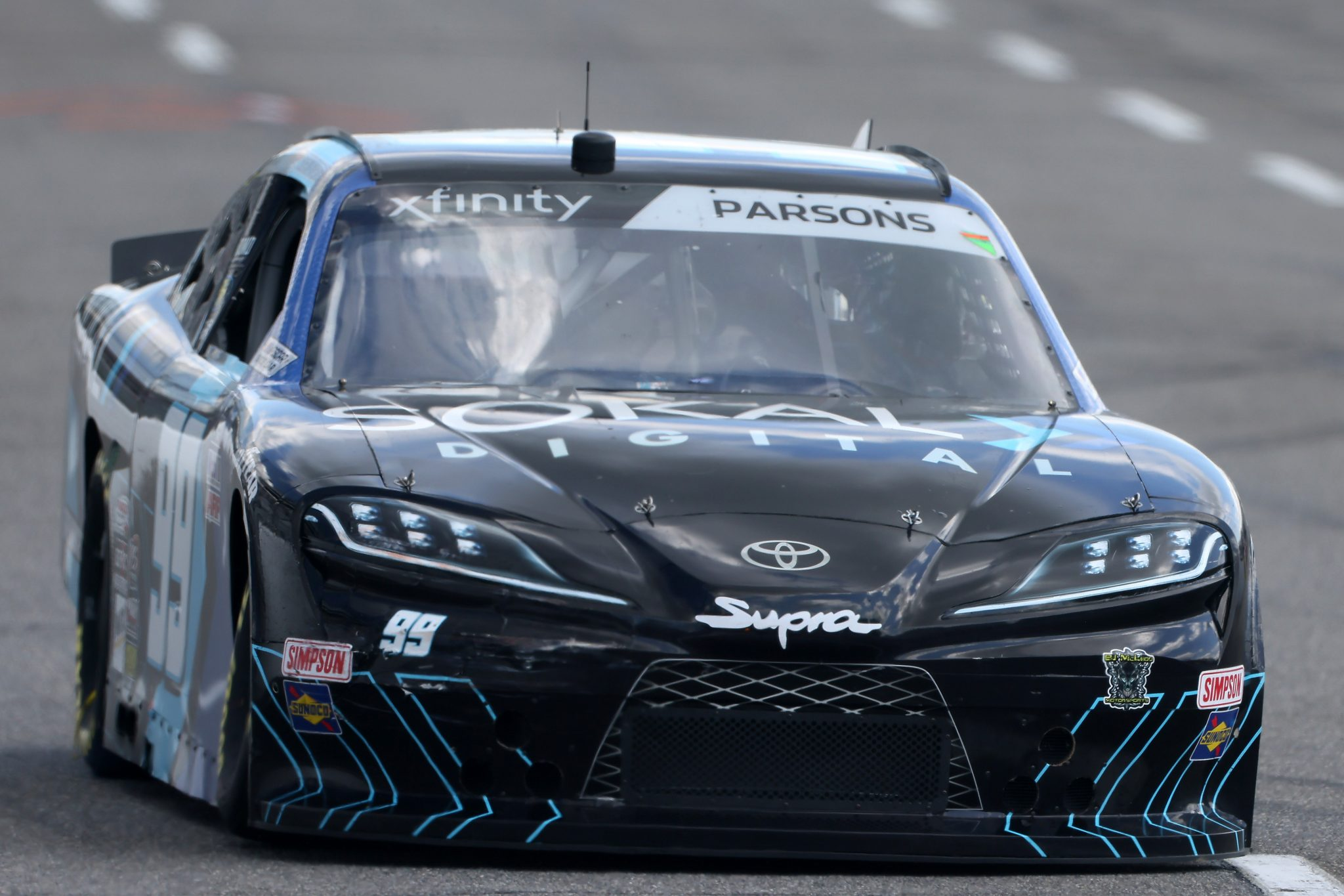 MARTINSVILLE, VIRGINIA - APRIL 11: Stefan Parsons, driver of the #99 SOKAL Digital Toyota, drives during the NASCAR Xfinity Series Cook Out 250 at Martinsville Speedway on April 11, 2021 in Martinsville, Virginia. (Photo by James Gilbert/Getty Images) | Getty Images