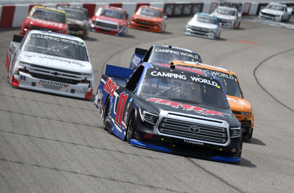 RICHMOND, VIRGINIA - APRIL 17: Spence Davis, driver of the #11 Inox Supreme Lubricants Toyota, drives during the NASCAR Camping World Truck Series ToyotaCare 250 at Richmond Raceway on April 17, 2021 in Richmond, Virginia. (Photo by Brian Lawdermilk/Getty Images) | Getty Images