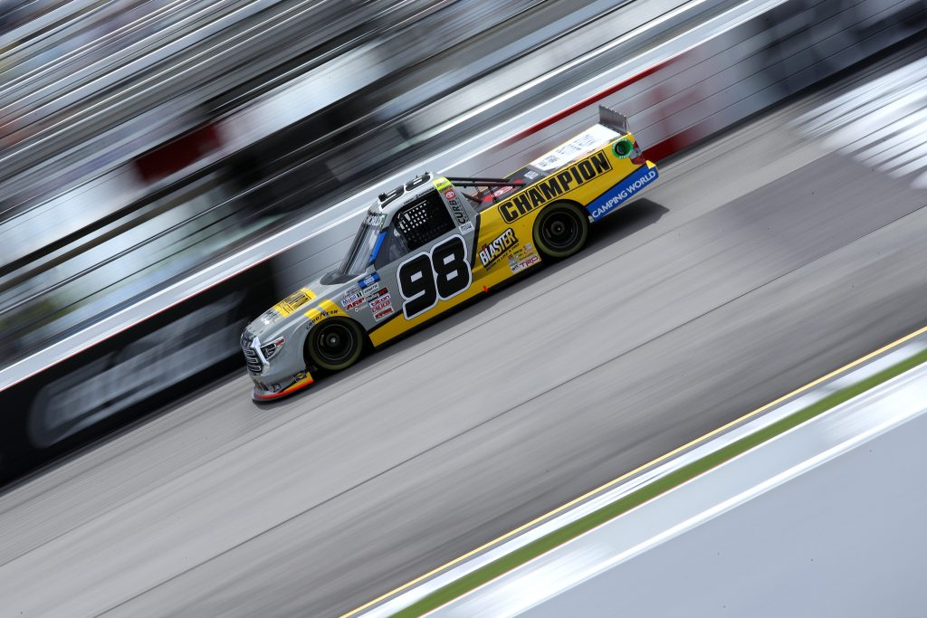 RICHMOND, VIRGINIA - APRIL 17: Grant Enfinger, driver of the #98 Champion/Camping World/Curb Records Toyota, drives during the NASCAR Camping World Truck Series ToyotaCare 250 at Richmond Raceway on April 17, 2021 in Richmond, Virginia. (Photo by Sean Gardner/Getty Images) | Getty Images