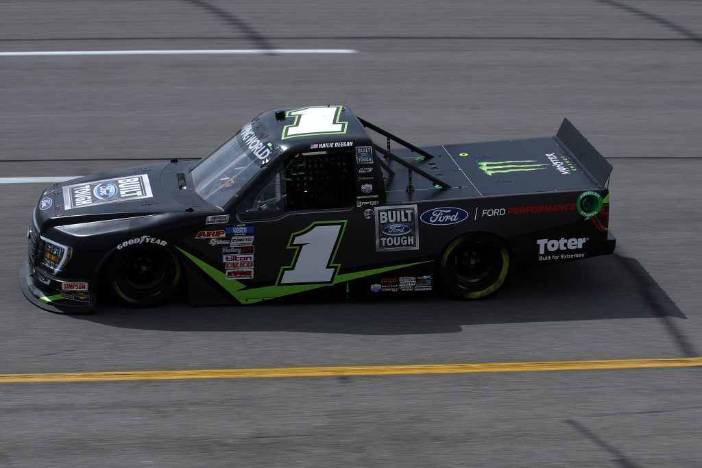 RICHMOND, VIRGINIA - APRIL 17: Hailie Deegan, driver of the #1 BUILT FORD TOUGH Ford, drives during the NASCAR Camping World Truck Series ToyotaCare 250 at Richmond Raceway on April 17, 2021 in Richmond, Virginia. (Photo by Sean Gardner/Getty Images) | Getty Images