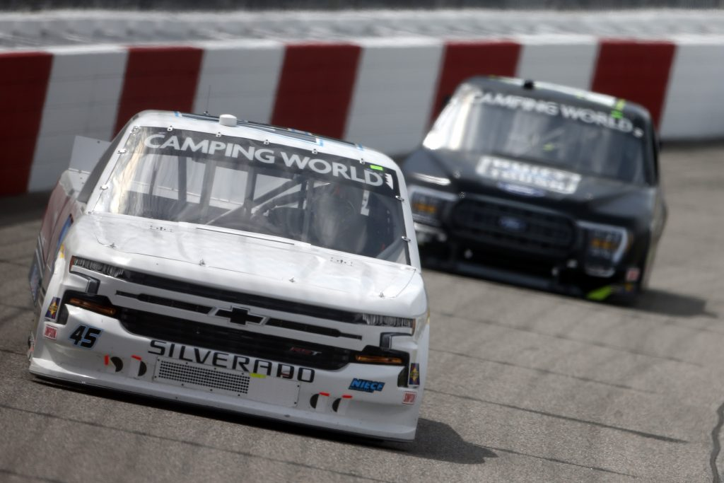 RICHMOND, VIRGINIA - APRIL 17: Brett Moffitt, driver of the #45 Niece Chevrolet, drives during the NASCAR Camping World Truck Series ToyotaCare 250 at Richmond Raceway on April 17, 2021 in Richmond, Virginia. (Photo by Brian Lawdermilk/Getty Images) | Getty Images