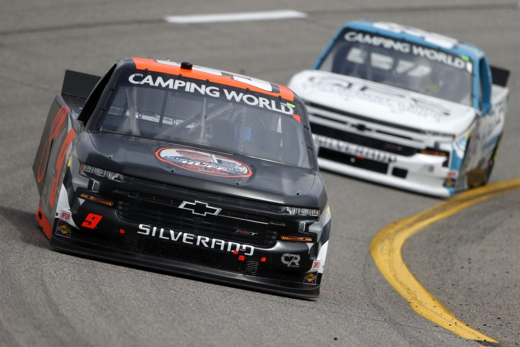 RICHMOND, VIRGINIA - APRIL 17: Codie Rohrbaugh, driver of the #9 Grant County Mulch Chevrolet, drives during the NASCAR Camping World Truck Series ToyotaCare 250 at Richmond Raceway on April 17, 2021 in Richmond, Virginia. (Photo by Brian Lawdermilk/Getty Images) | Getty Images