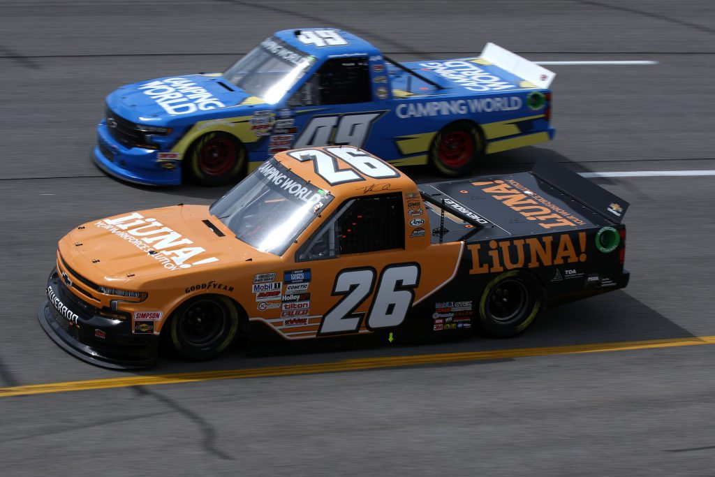 RICHMOND, VIRGINIA - APRIL 17: Tyler Ankrum, driver of the #26 LiUNA! Chevrolet, drives during the NASCAR Camping World Truck Series ToyotaCare 250 at Richmond Raceway on April 17, 2021 in Richmond, Virginia. (Photo by Sean Gardner/Getty Images) | Getty Images
