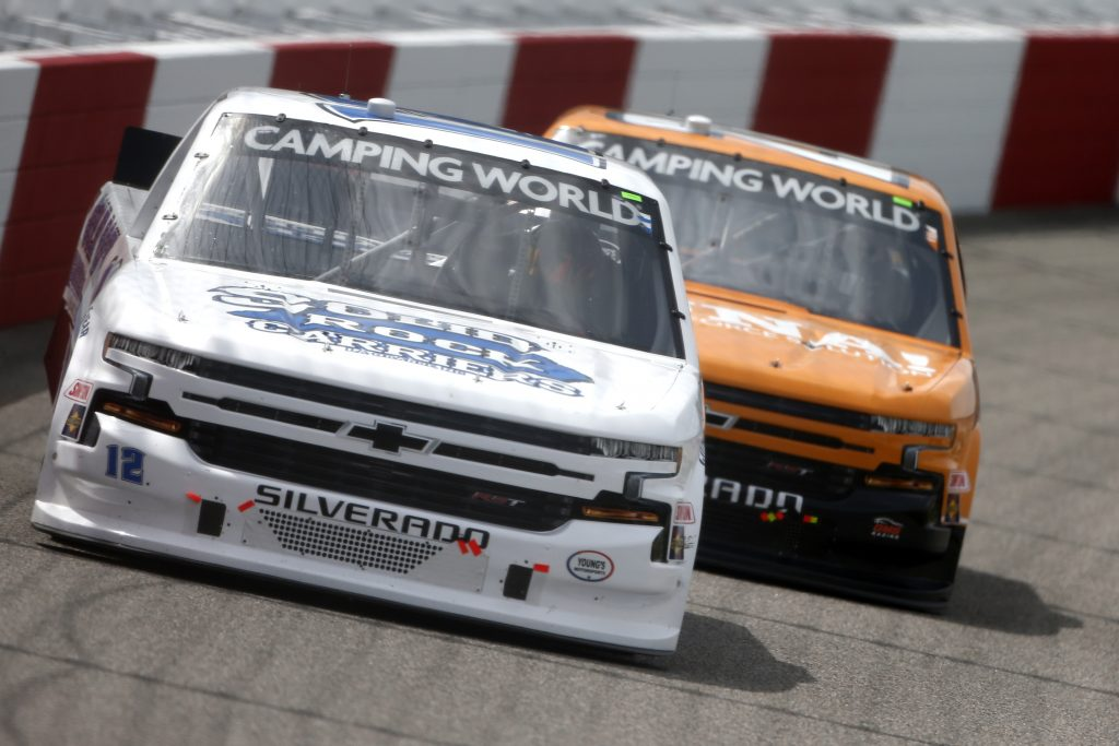 RICHMOND, VIRGINIA - APRIL 17: Tate Fogleman, driver of the #12 Solid Rock Carriers Chevrolet, drives during the NASCAR Camping World Truck Series ToyotaCare 250 at Richmond Raceway on April 17, 2021 in Richmond, Virginia. (Photo by Brian Lawdermilk/Getty Images) | Getty Images
