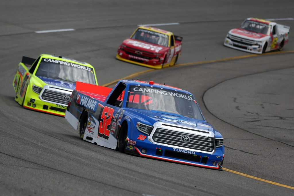 RICHMOND, VIRGINIA - APRIL 17: Stewart Friesen, driver of the #52 Halmar International Toyota, drives during the NASCAR Camping World Truck Series ToyotaCare 250 at Richmond Raceway on April 17, 2021 in Richmond, Virginia. (Photo by Brian Lawdermilk/Getty Images) | Getty Images
