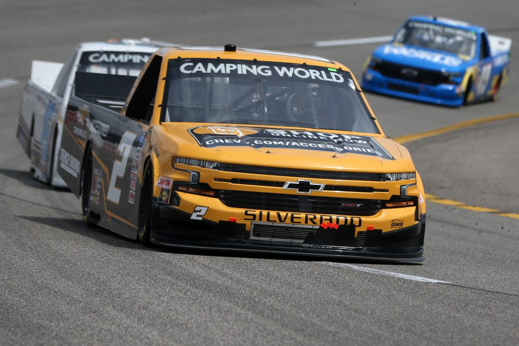RICHMOND, VIRGINIA - APRIL 17: Sheldon Creed, driver of the #2 Chevy Accessories Chevrolet, drives during the NASCAR Camping World Truck Series ToyotaCare 250 at Richmond Raceway on April 17, 2021 in Richmond, Virginia. (Photo by Brian Lawdermilk/Getty Images) | Getty Images