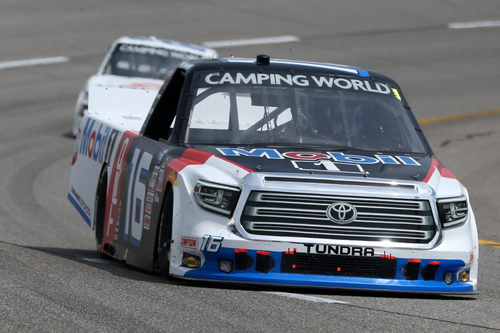 RICHMOND, VIRGINIA - APRIL 17: Austin Hill, driver of the #16 Mobil 1 Toyota, drives during the NASCAR Camping World Truck Series ToyotaCare 250 at Richmond Raceway on April 17, 2021 in Richmond, Virginia. (Photo by Brian Lawdermilk/Getty Images) | Getty Images