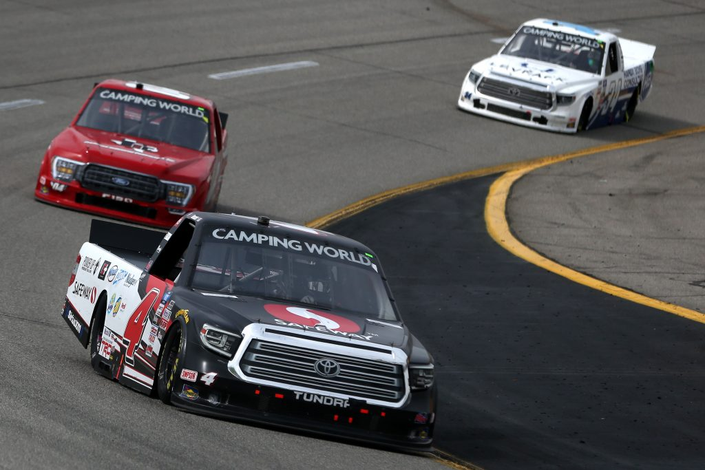 RICHMOND, VIRGINIA - APRIL 17: John Hunter Nemechek, driver of the #4 Safeway Toyota, drives during the NASCAR Camping World Truck Series ToyotaCare 250 at Richmond Raceway on April 17, 2021 in Richmond, Virginia. (Photo by Brian Lawdermilk/Getty Images) | Getty Images