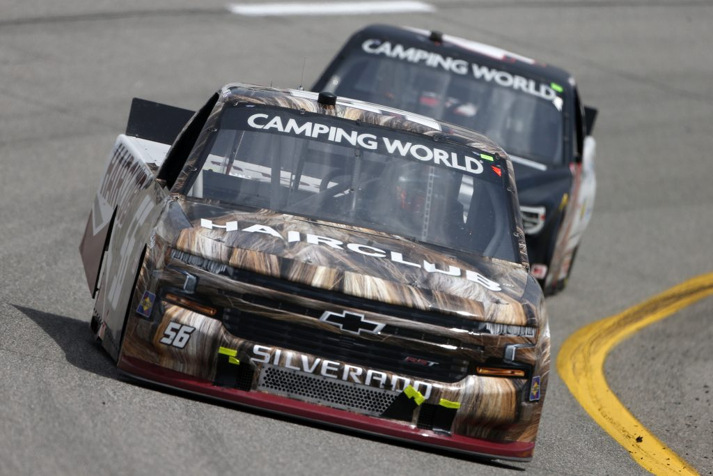 RICHMOND, VIRGINIA - APRIL 17: Timmy Hill, driver of the #56 HairClub Toyota, drives during the NASCAR Camping World Truck Series ToyotaCare 250 at Richmond Raceway on April 17, 2021 in Richmond, Virginia. (Photo by Brian Lawdermilk/Getty Images) | Getty Images