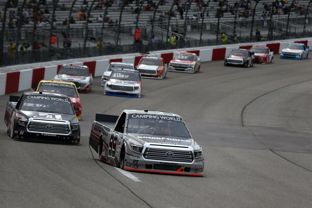RICHMOND, VIRGINIA - APRIL 17: Ben Rhodes, driver of the #99 Bombardier Toyota, leads the field during the NASCAR Camping World Truck Series ToyotaCare 250 at Richmond Raceway on April 17, 2021 in Richmond, Virginia. (Photo by Brian Lawdermilk/Getty Images) | Getty Images
