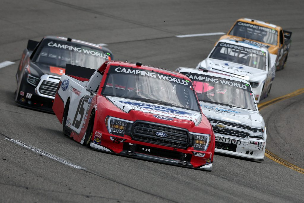 RICHMOND, VIRGINIA - APRIL 17: Tanner Gray, driver of the #15 Ford Performance Ford, drives during the NASCAR Camping World Truck Series ToyotaCare 250 at Richmond Raceway on April 17, 2021 in Richmond, Virginia. (Photo by Brian Lawdermilk/Getty Images) | Getty Images