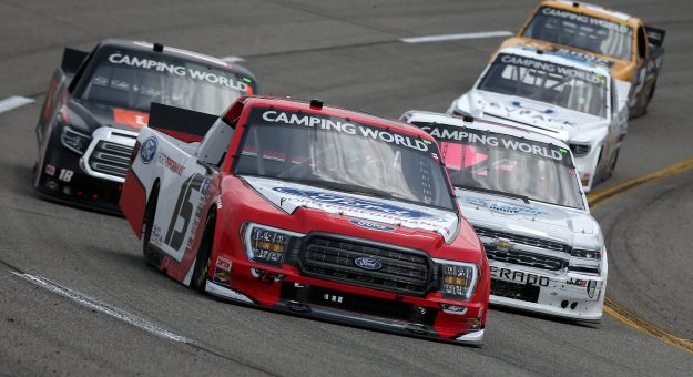 RICHMOND, VIRGINIA - APRIL 17: Tanner Gray, driver of the #15 Ford Performance Ford, drives during the NASCAR Camping World Truck Series ToyotaCare 250 at Richmond Raceway on April 17, 2021 in Richmond, Virginia. (Photo by Brian Lawdermilk/Getty Images)   Getty Images