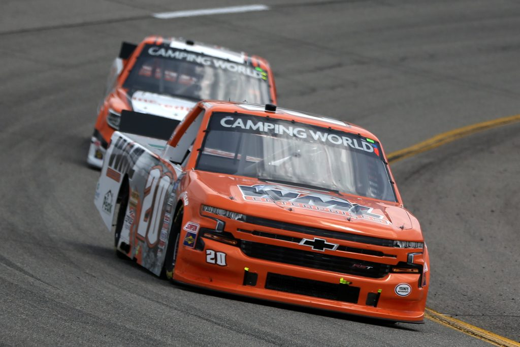 RICHMOND, VIRGINIA - APRIL 17: Spencer Boyd, driver of the #20 WML Enterprises Chevrolet, drives during the NASCAR Camping World Truck Series ToyotaCare 250 at Richmond Raceway on April 17, 2021 in Richmond, Virginia. (Photo by Brian Lawdermilk/Getty Images) | Getty Images
