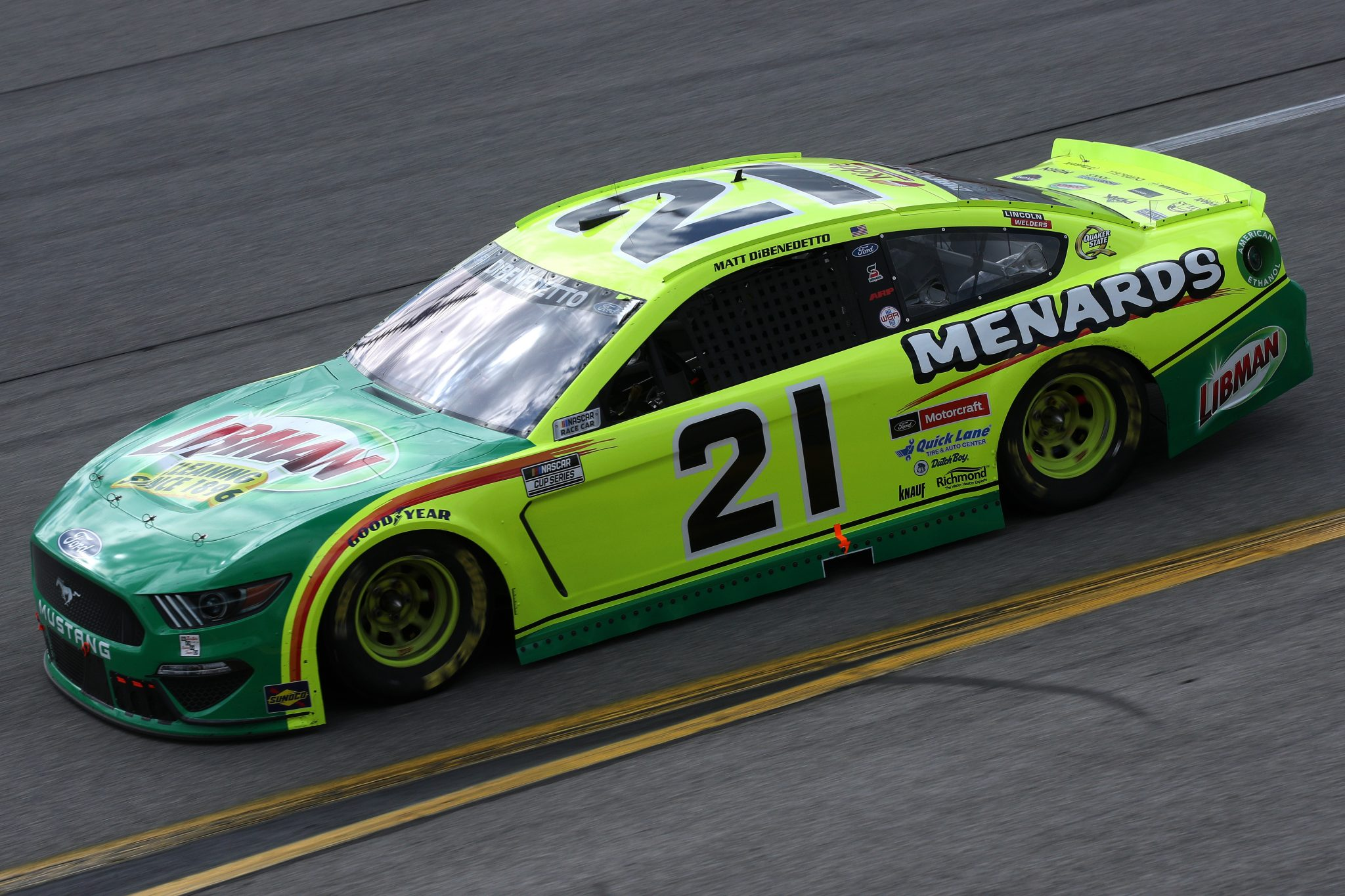 RICHMOND, VIRGINIA - APRIL 18: Matt DiBenedetto, driver of the #21 Menards/Libman Ford, drives during the NASCAR Cup Series Toyota Owners 400 at Richmond Raceway on April 18, 2021 in Richmond, Virginia. (Photo by Sean Gardner/Getty Images) | Getty Images