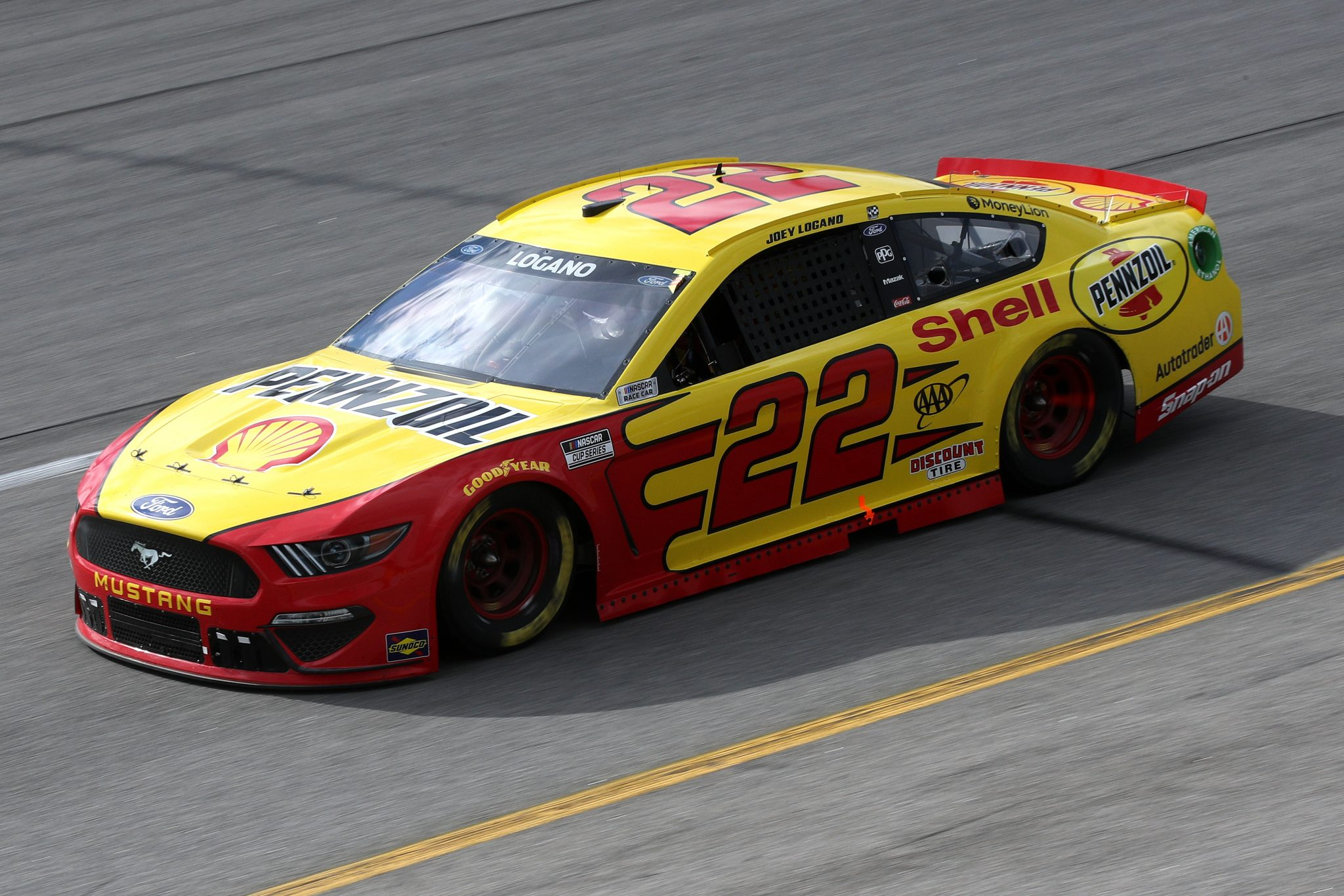 RICHMOND, VIRGINIA - APRIL 18: Joey Logano, driver of the #22 Shell Pennzoil Ford, drives during the NASCAR Cup Series Toyota Owners 400 at Richmond Raceway on April 18, 2021 in Richmond, Virginia. (Photo by Sean Gardner/Getty Images) | Getty Images