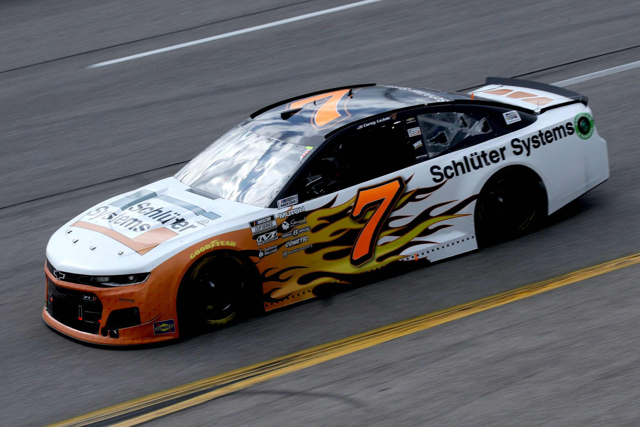 RICHMOND, VIRGINIA - APRIL 18: Corey LaJoie, driver of the #7 Schluter Systems Chevrolet, drives during the NASCAR Cup Series Toyota Owners 400 at Richmond Raceway on April 18, 2021 in Richmond, Virginia. (Photo by Sean Gardner/Getty Images) | Getty Images