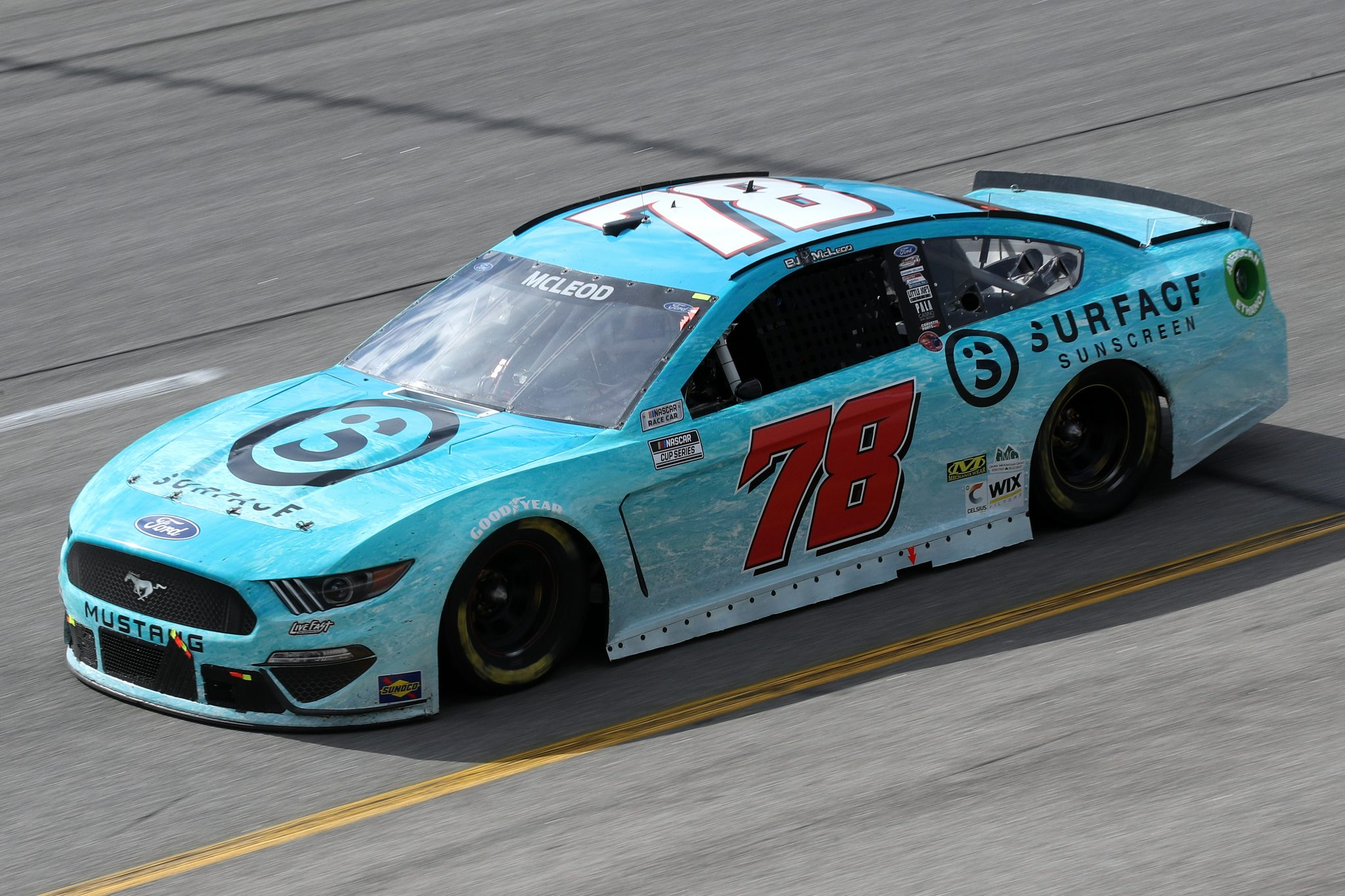 RICHMOND, VIRGINIA - APRIL 18: BJ McLeod, driver of the #78 Surface Sunscreen Ford, drives during the NASCAR Cup Series Toyota Owners 400 at Richmond Raceway on April 18, 2021 in Richmond, Virginia. (Photo by Sean Gardner/Getty Images) | Getty Images