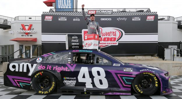RICHMOND, VIRGINIA - APRIL 18: Alex Bowman, driver of the #48 Ally Chevrolet, celebrates in victory lane after winning the NASCAR Cup Series Toyota Owners 400 at Richmond Raceway on April 18, 2021 in Richmond, Virginia. (Photo by Sean Gardner/Getty Images) | Getty Images
