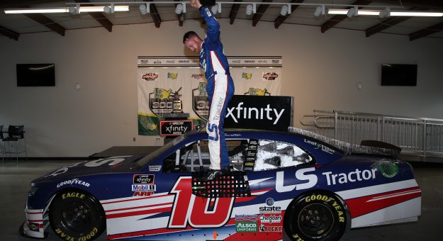 TALLADEGA, ALABAMA - APRIL 24: Jeb Burton, driver of the #10 LS Tractors Chevrolet, celebrates in victory lane after winning the NASCAR Xfinity Series Ag-Pro 300 at Talladega Superspeedway on April 24, 2021 in Talladega, Alabama. (Photo by Sean Gardner/Getty Images)   Getty Images