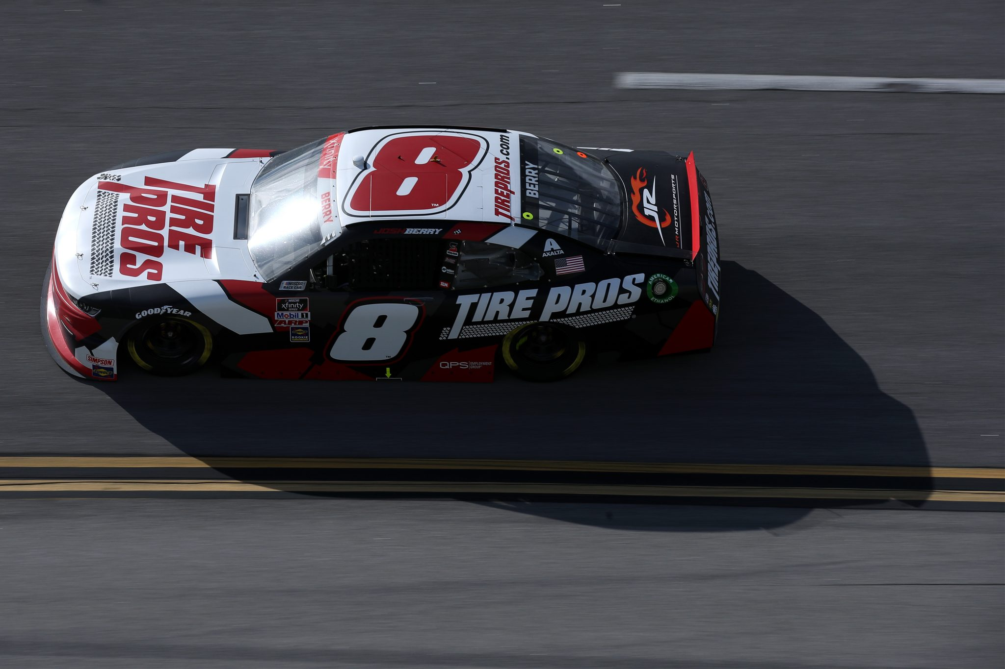 TALLADEGA, ALABAMA - APRIL 24: Josh Berry, driver of the #8 Tire Pros Chevrolet, drives during the NASCAR Xfinity Series Ag-Pro 300 at Talladega Superspeedway on April 24, 2021 in Talladega, Alabama. (Photo by Sean Gardner/Getty Images) | Getty Images