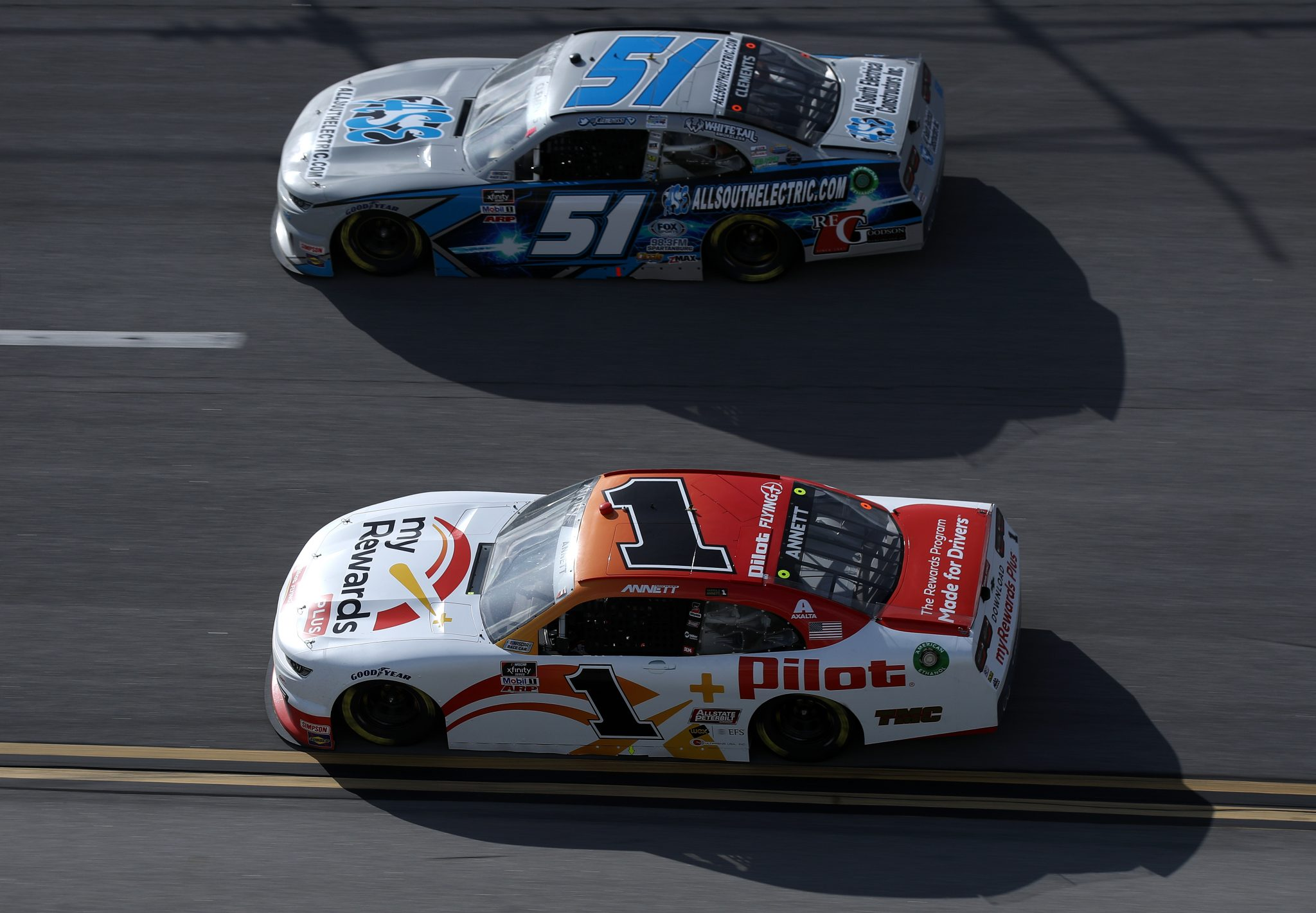 TALLADEGA, ALABAMA - APRIL 24: Michael Annett, driver of the #1 Pilot Flying J myRewards Plus Chevrolet, and Jeremy Clements, driver of the #51 All South Electric Chevrolet, race during the NASCAR Xfinity Series Ag-Pro 300 at Talladega Superspeedway on April 24, 2021 in Talladega, Alabama. (Photo by Sean Gardner/Getty Images)   Getty Images