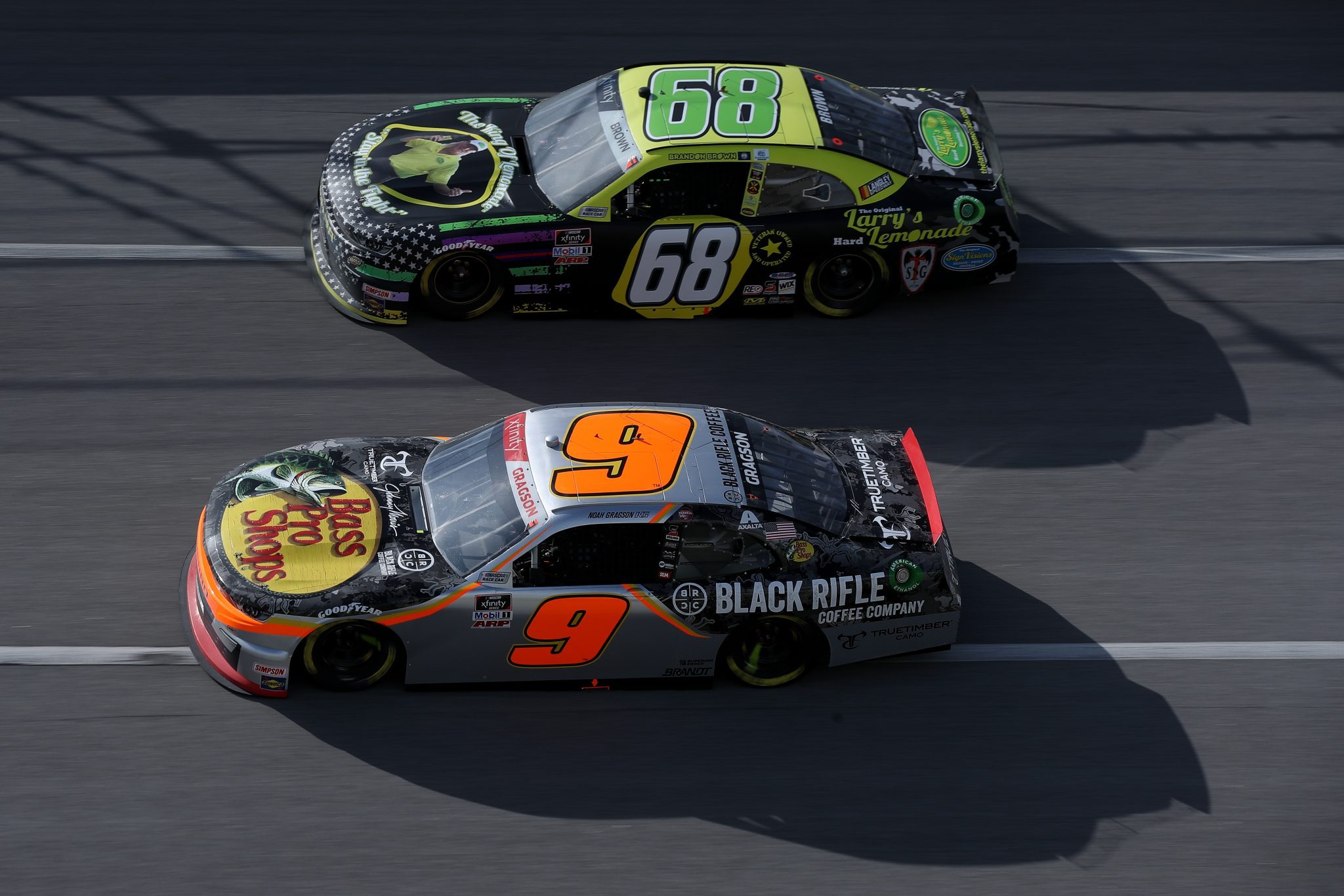 TALLADEGA, ALABAMA - APRIL 24: Noah Gragson, driver of the #9 Bass Pro Shops/True Timber/BRCC Chevrolet, and Brandon Brown, driver of the #68 Original Larry's Hard Lemonade Chevrolet, race during the NASCAR Xfinity Series Ag-Pro 300 at Talladega Superspeedway on April 24, 2021 in Talladega, Alabama. (Photo by Sean Gardner/Getty Images)   Getty Images