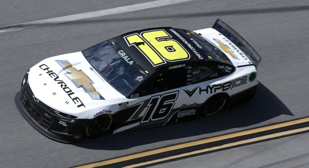 TALLADEGA, ALABAMA - APRIL 25: Kaz Grala, driver of the #16 Hyperice Chevrolet, drives during the NASCAR Cup Series  GEICO 500 at Talladega Superspeedway on April 25, 2021 in Talladega, Alabama. (Photo by Sean Gardner/Getty Images) | Getty Images