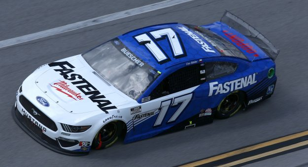 TALLADEGA, ALABAMA - APRIL 25: Chris Buescher, driver of the #17 Fastenal Ford, drives during the NASCAR Cup Series  GEICO 500 at Talladega Superspeedway on April 25, 2021 in Talladega, Alabama. (Photo by Sean Gardner/Getty Images)   Getty Images