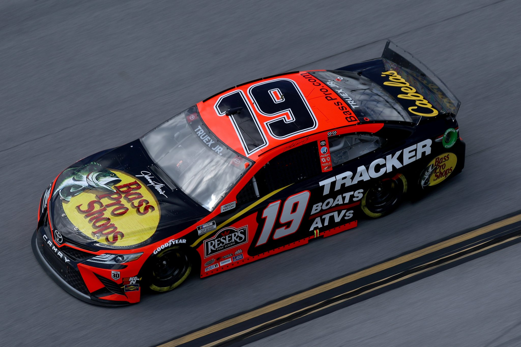 TALLADEGA, ALABAMA - APRIL 25: Martin Truex Jr., driver of the #19 Bass Pro Toyota, drives during the NASCAR Cup Series GEICO 500 at Talladega Superspeedway on April 25, 2021 in Talladega, Alabama. (Photo by Sean Gardner/Getty Images) | Getty Images