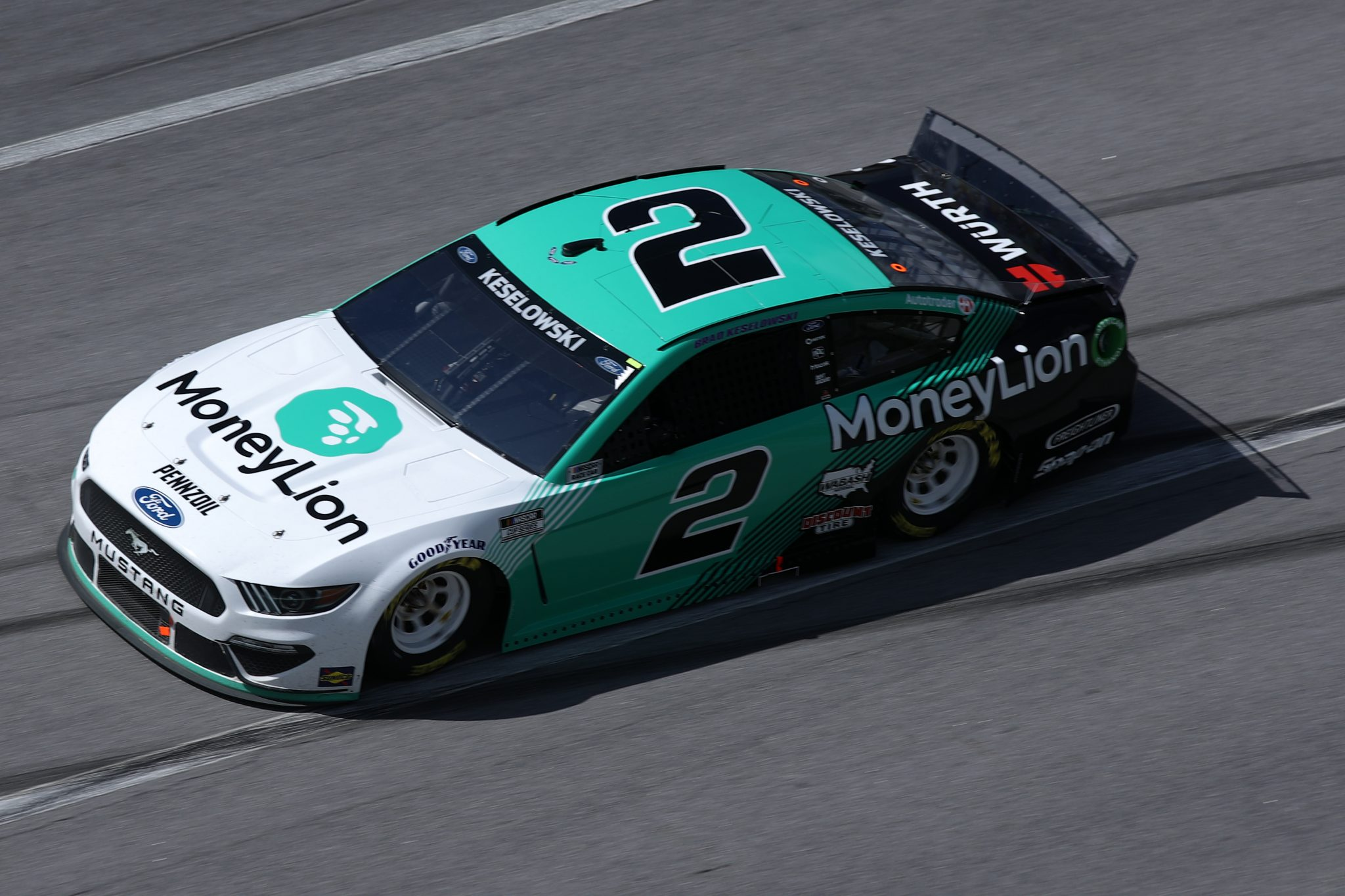 TALLADEGA, ALABAMA - APRIL 25: Brad Keselowski, driver of the #2 MoneyLion Ford, drives during the NASCAR Cup Series GEICO 500 at Talladega Superspeedway on April 25, 2021 in Talladega, Alabama. (Photo by Sean Gardner/Getty Images)   Getty Images