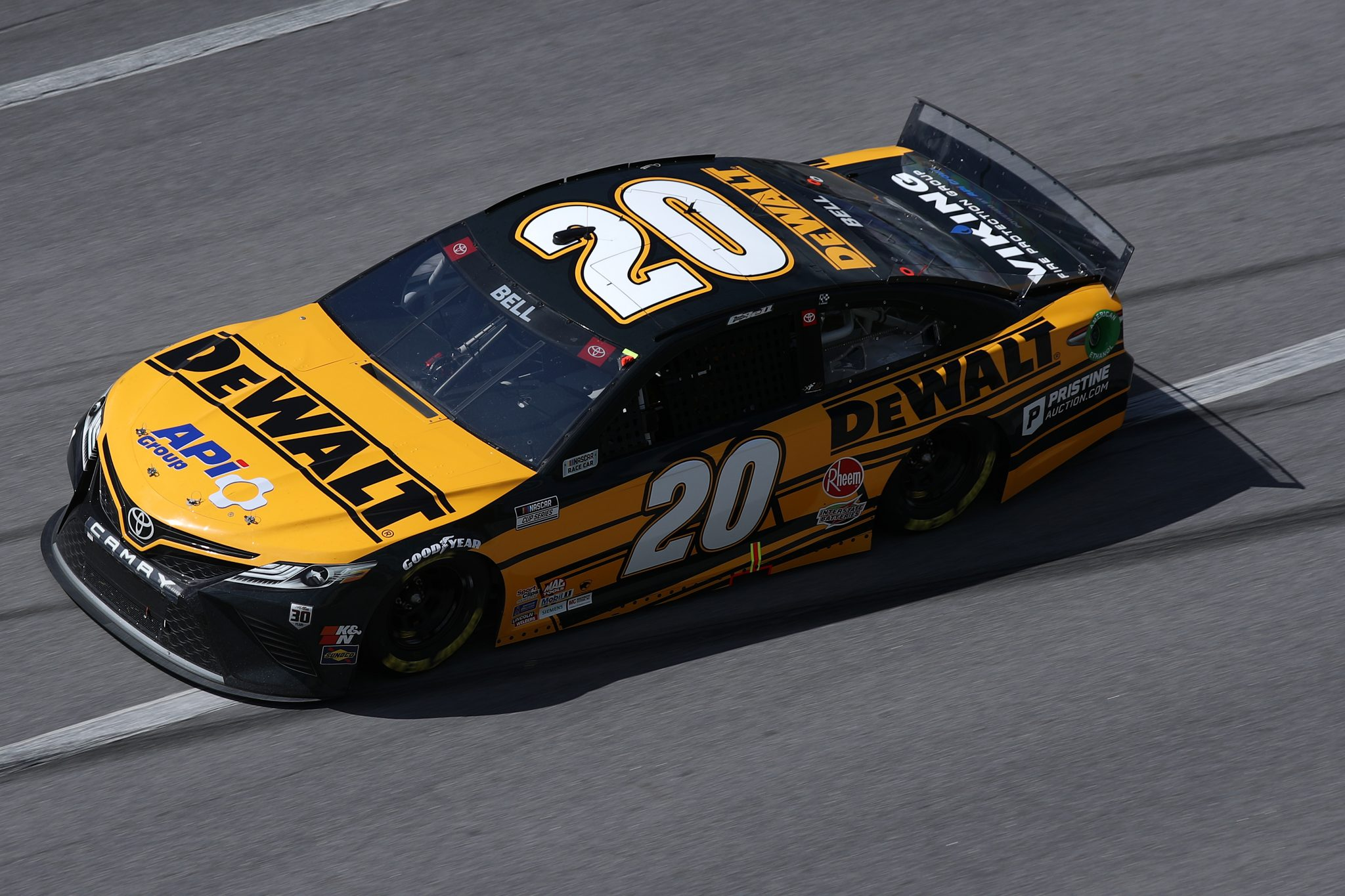 TALLADEGA, ALABAMA - APRIL 25: Christopher Bell, driver of the #20 DEWALT Toyota, drives during the NASCAR Cup Series GEICO 500 at Talladega Superspeedway on April 25, 2021 in Talladega, Alabama. (Photo by Sean Gardner/Getty Images) | Getty Images