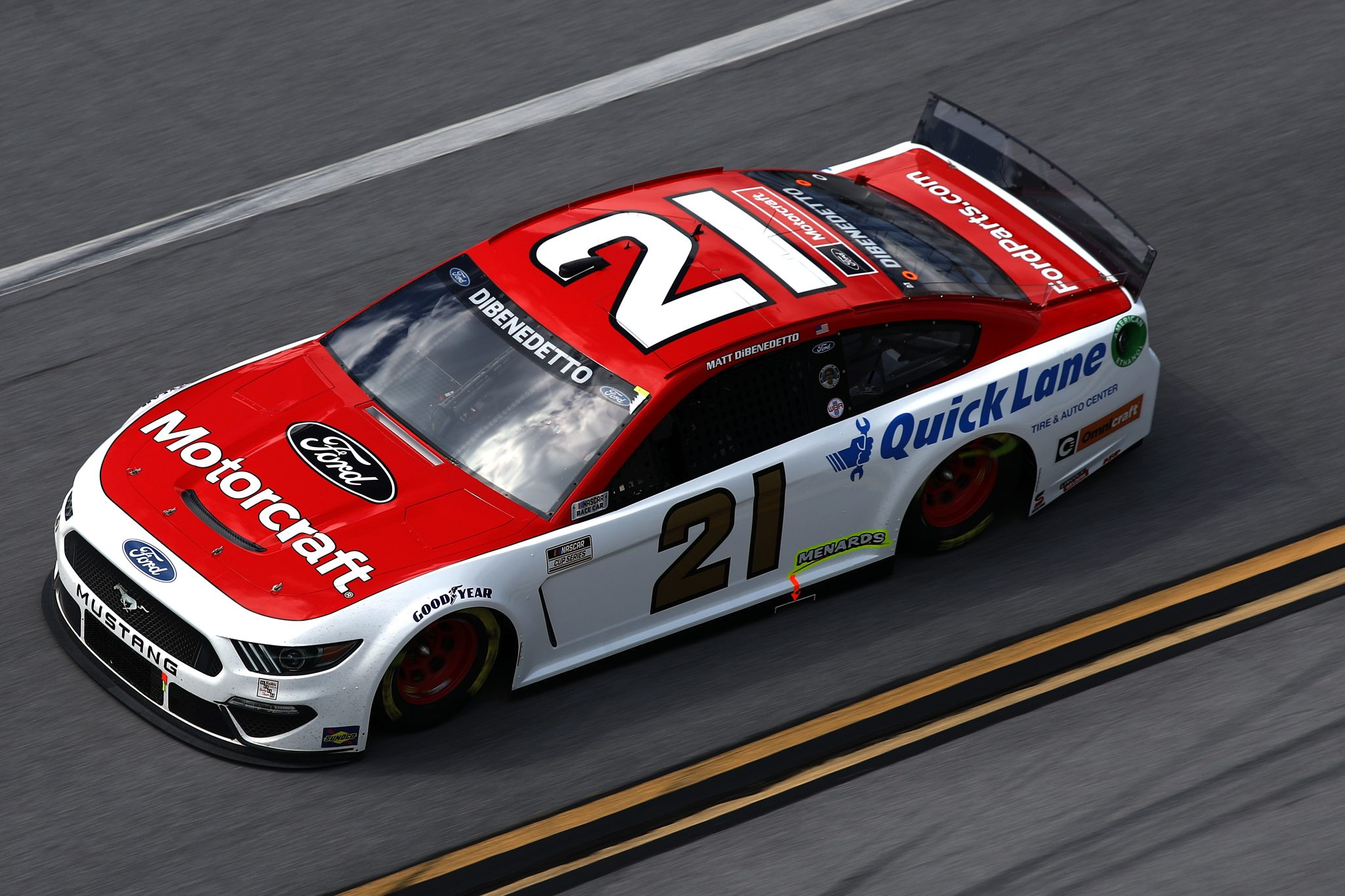 TALLADEGA, ALABAMA - APRIL 25: Matt DiBenedetto, driver of the #21 Motorcraft Quick Lane Ford, drives during the NASCAR Cup Series GEICO 500 at Talladega Superspeedway on April 25, 2021 in Talladega, Alabama. (Photo by Sean Gardner/Getty Images) | Getty Images
