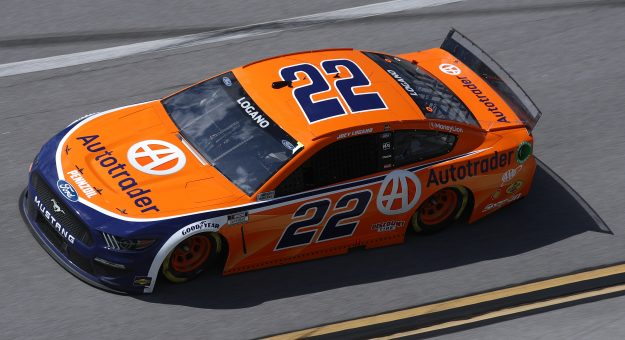 TALLADEGA, ALABAMA - APRIL 25: Joey Logano, driver of the #22 Autotrader Ford, drives during the NASCAR Cup Series  GEICO 500 at Talladega Superspeedway on April 25, 2021 in Talladega, Alabama. (Photo by Sean Gardner/Getty Images) | Getty Images