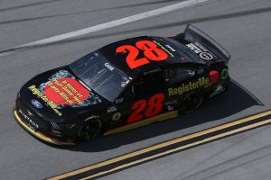 TALLADEGA, ALABAMA - APRIL 25: Joey Gase, driver of the #28 Davey Allison Tribute Ford, drives during the NASCAR Cup Series  GEICO 500 at Talladega Superspeedway on April 25, 2021 in Talladega, Alabama. (Photo by Sean Gardner/Getty Images) | Getty Images