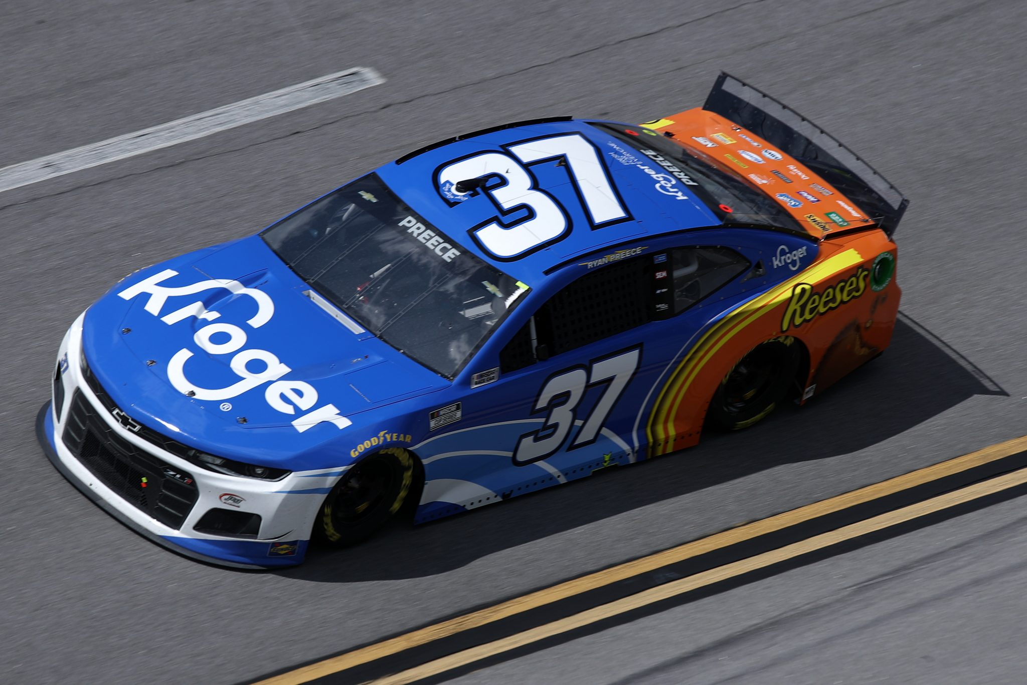 TALLADEGA, ALABAMA - APRIL 25: Ryan Preece, driver of the #37 Kroger/Reese's Chevrolet, drives during the NASCAR Cup Series GEICO 500 at Talladega Superspeedway on April 25, 2021 in Talladega, Alabama. (Photo by Sean Gardner/Getty Images)   Getty Images