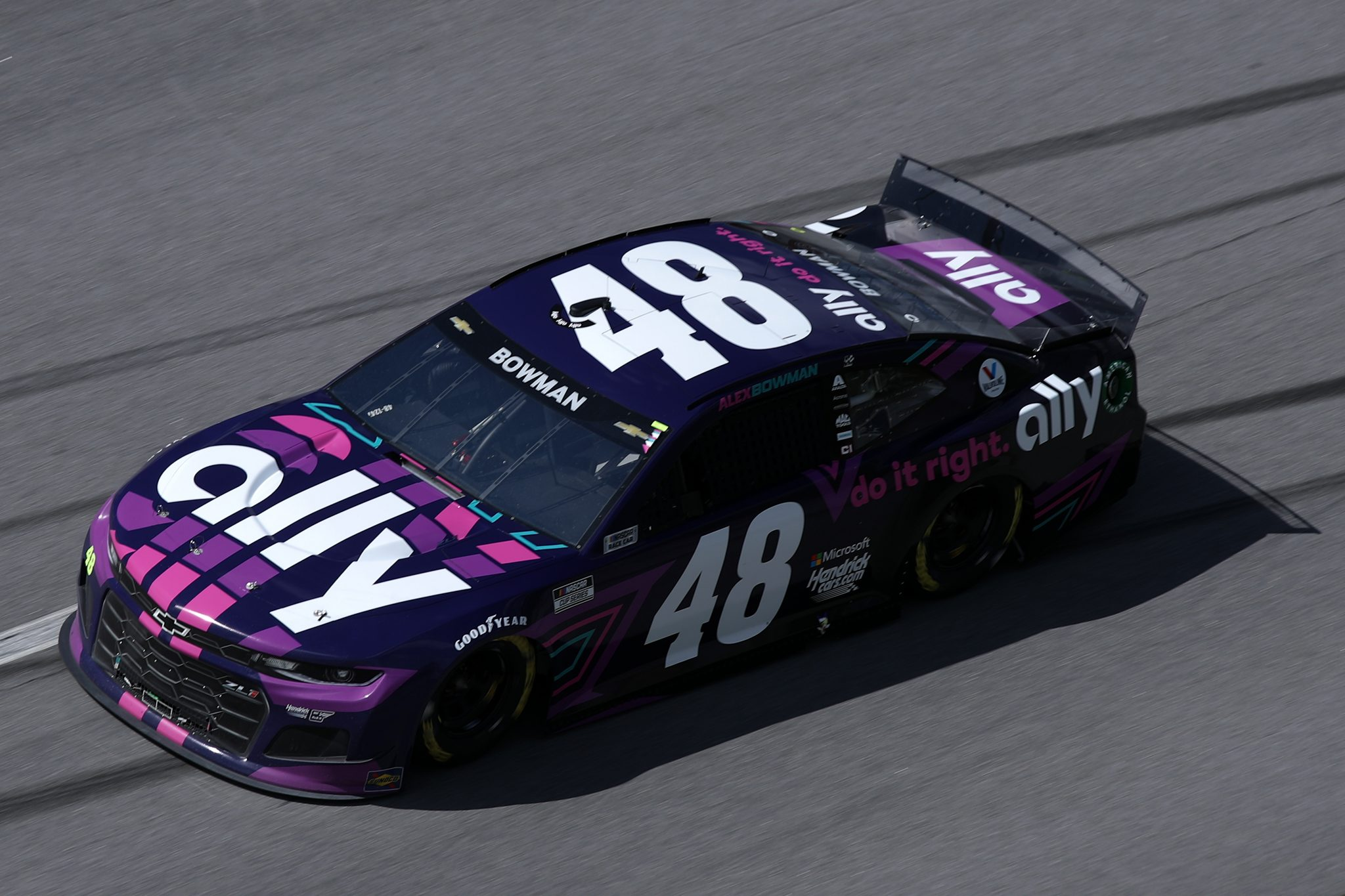 TALLADEGA, ALABAMA - APRIL 25: Alex Bowman, driver of the #48 Ally Chevrolet, drives during the NASCAR Cup Series GEICO 500 at Talladega Superspeedway on April 25, 2021 in Talladega, Alabama. (Photo by Sean Gardner/Getty Images) | Getty Images