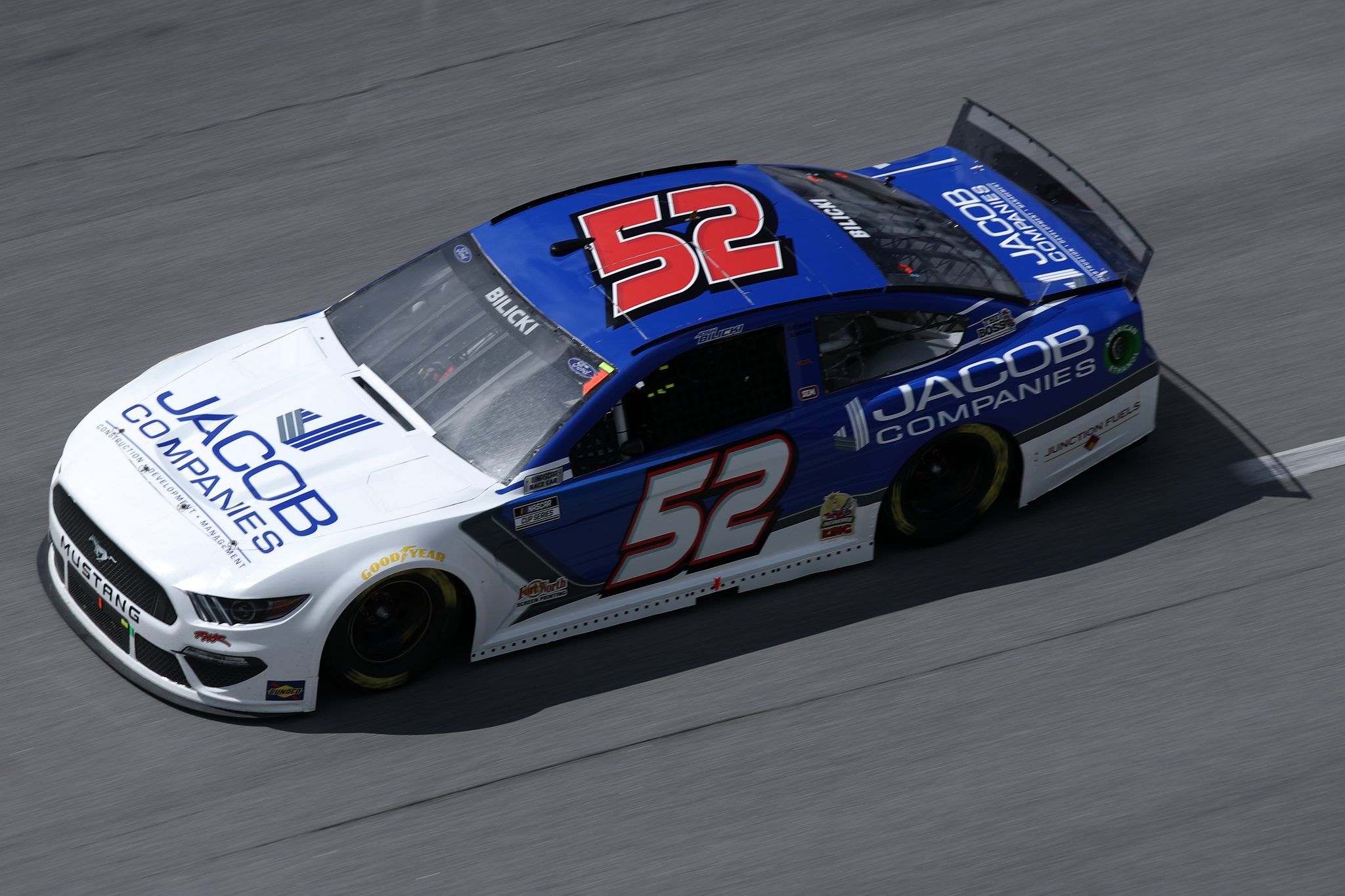 TALLADEGA, ALABAMA - APRIL 25: Josh Bilicki, driver of the #52 Ford, drives during the NASCAR Cup Series GEICO 500 at Talladega Superspeedway on April 25, 2021 in Talladega, Alabama. (Photo by Sean Gardner/Getty Images) | Getty Images