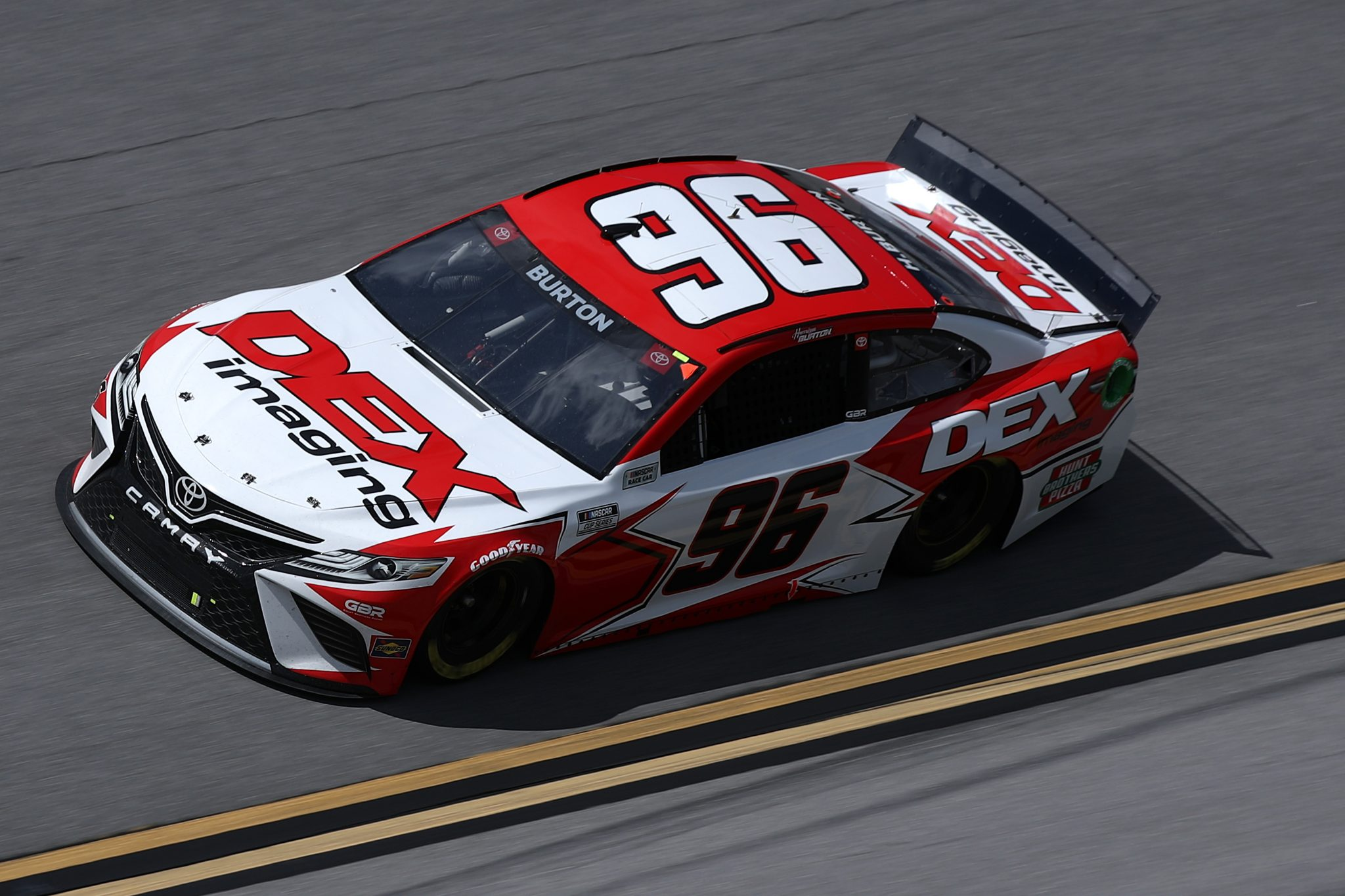 TALLADEGA, ALABAMA - APRIL 25: Harrison Burton, driver of the #96 DEX Imaging Toyota, drives during the NASCAR Cup Series  GEICO 500 at Talladega Superspeedway on April 25, 2021 in Talladega, Alabama. (Photo by Sean Gardner/Getty Images) | Getty Images