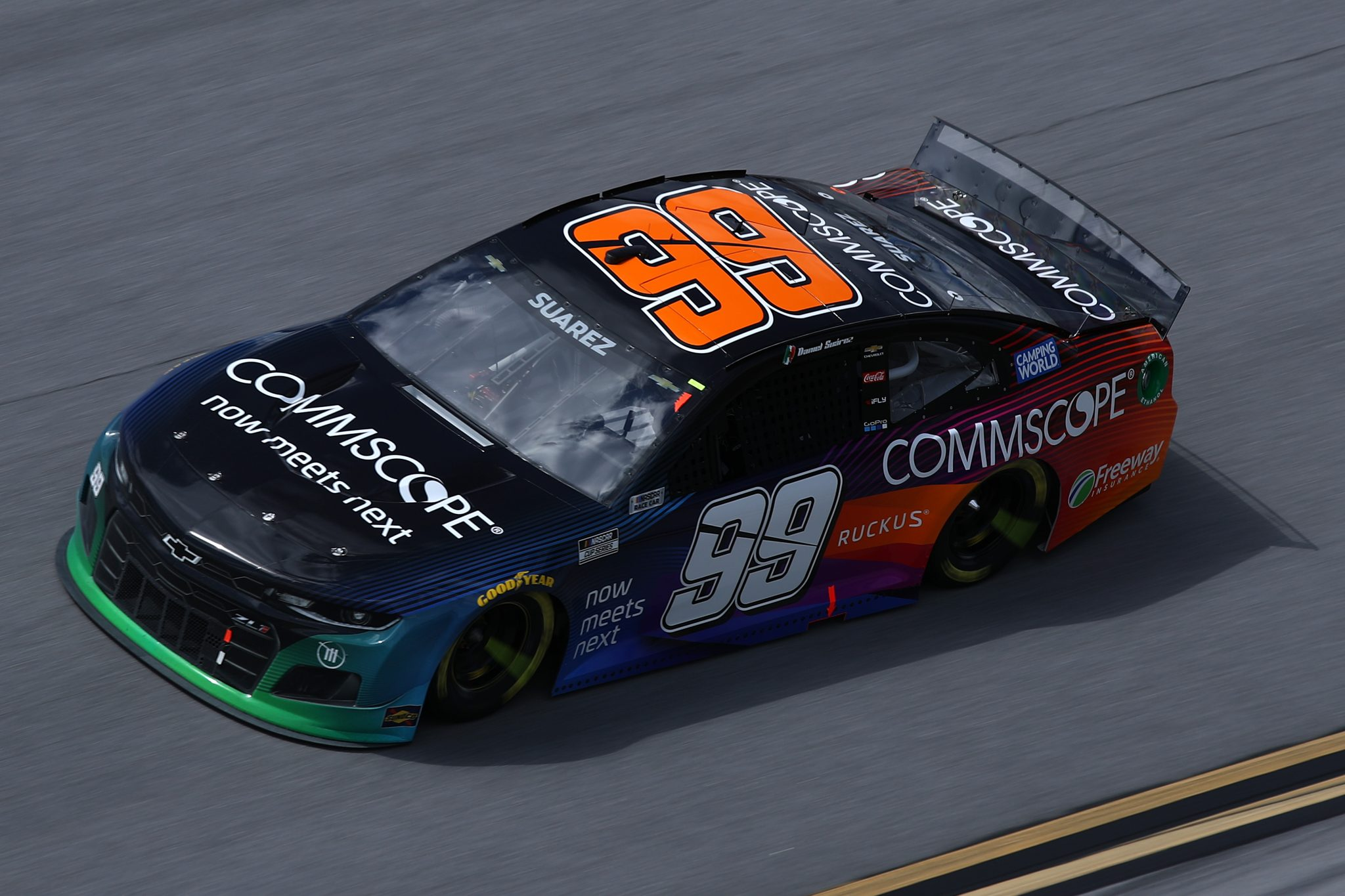 TALLADEGA, ALABAMA - APRIL 25: Daniel Suarez, driver of the #99 CommScope Chevrolet, drives during the NASCAR Cup Series GEICO 500 at Talladega Superspeedway on April 25, 2021 in Talladega, Alabama. (Photo by Sean Gardner/Getty Images) | Getty Images