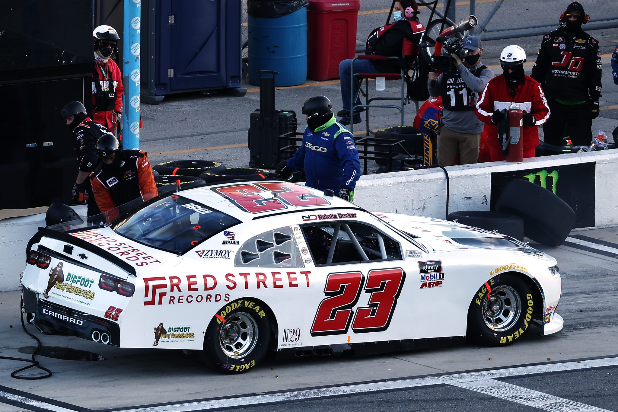 DAYTONA BEACH, FLORIDA - FEBRUARY 20: Natalie Decker, driver of the #23 Red Street Records Chevrolet, pits during the NASCAR Xfinity Super Start Batteries 188 At Daytona Presented by O'Reilly at Daytona International Speedway on February 20, 2021 in Daytona Beach, Florida. (Photo by James Gilbert/Getty Images) | Getty Images