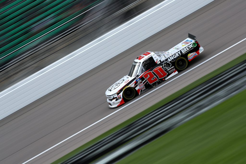 KANSAS CITY, KANSAS - MAY 01: Spencer Boyd, driver of the #20 Angry Brew Chevrolet, drives during the NASCAR Camping World Truck Series Wise Power 200 at Kansas Speedway on May 01, 2021 in Kansas City, Kansas. (Photo by Sean Gardner/Getty Images) | Getty Images
