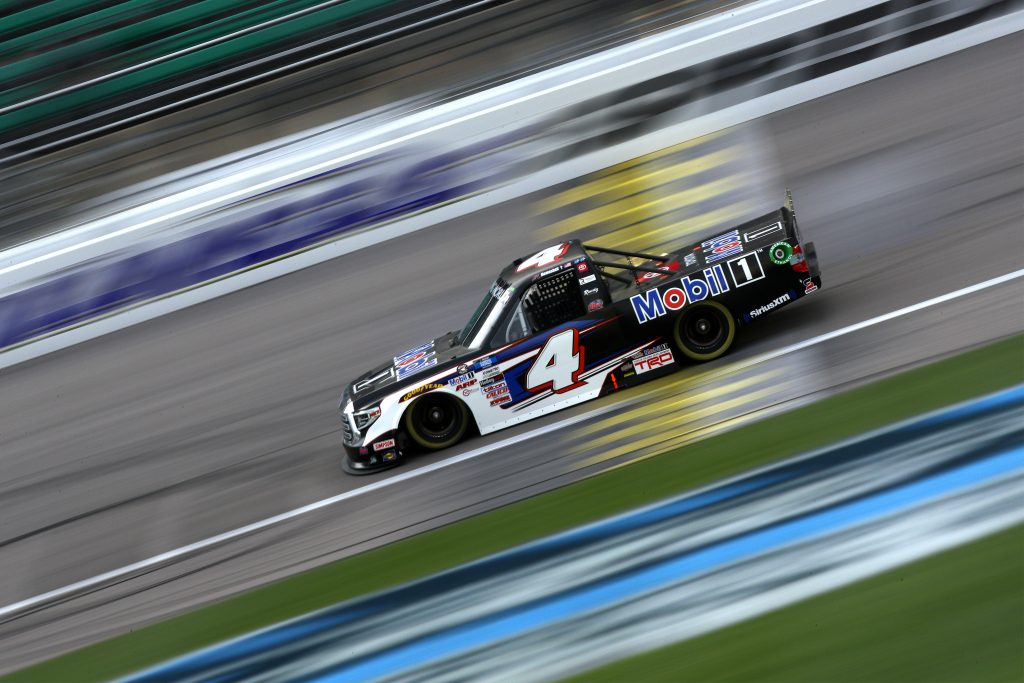 KANSAS CITY, KANSAS - MAY 01: John Hunter Nemechek, driver of the #4 Mobil 1 Toyota, drives during the NASCAR Camping World Truck Series Wise Power 200 at Kansas Speedway on May 01, 2021 in Kansas City, Kansas. (Photo by Sean Gardner/Getty Images) | Getty Images