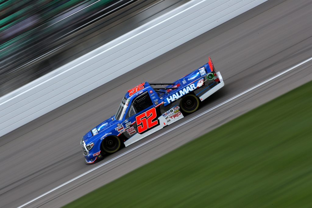 KANSAS CITY, KANSAS - MAY 01: Stewart Friesen, driver of the #52 Halmar International Toyota, drives during the NASCAR Camping World Truck Series Wise Power 200 at Kansas Speedway on May 01, 2021 in Kansas City, Kansas. (Photo by Sean Gardner/Getty Images) | Getty Images