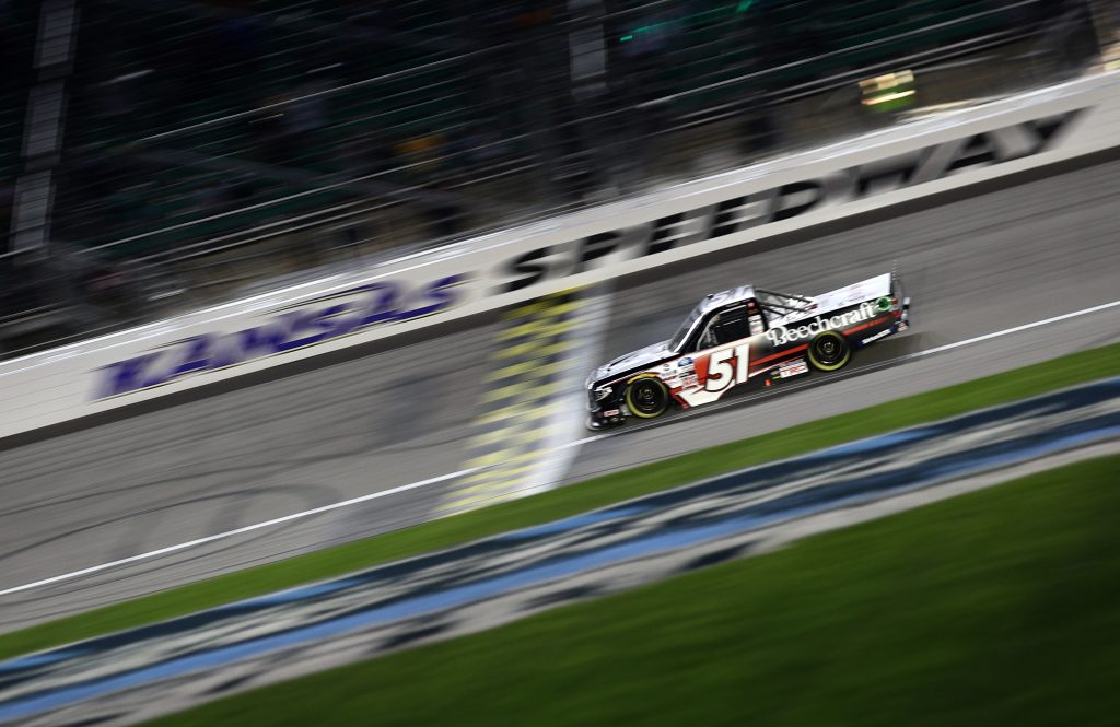 KANSAS CITY, KANSAS - MAY 01: Kyle Busch, driver of the #51 Cessna Toyota, crosses the finish line to win the NASCAR Camping World Truck Series Wise Power 200 at Kansas Speedway on May 01, 2021 in Kansas City, Kansas. (Photo by Sean Gardner/Getty Images) | Getty Images