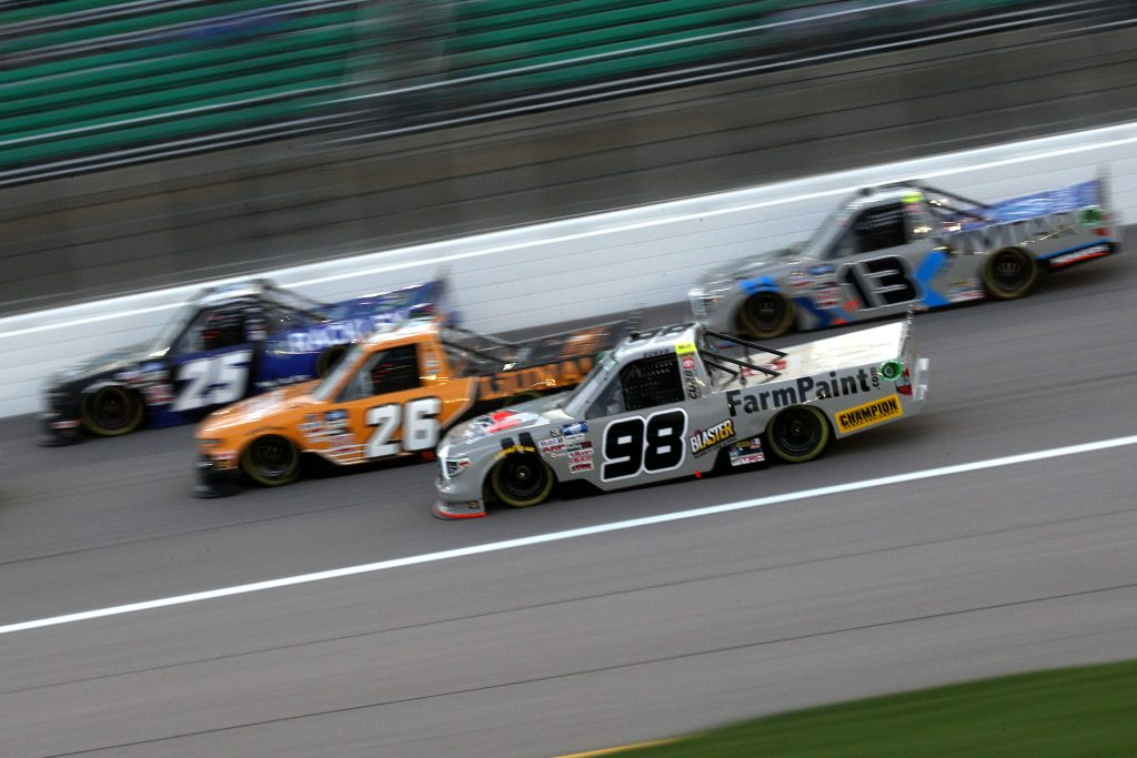 KANSAS CITY, KANSAS - MAY 01: Christian Eckes, driver of the #98 FarmPaint.com Toyota, drives during the NASCAR Camping World Truck Series Wise Power 200 at Kansas Speedway on May 01, 2021 in Kansas City, Kansas. (Photo by Sean Gardner/Getty Images) | Getty Images